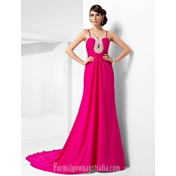 Australia Formal Dress Evening Gowns Fuchsia Plus Sizes Dresses Petite A Line Princess Sweetheart Spaghetti Straps Court Train Chiffon