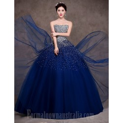 Australia Formal Dress Evening Gowns Dark Navy Petite Ball Gown Strapless Long Floor-length Satin Tulle Stretch Satin