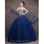 Australia Formal Dress Evening Gowns Dark Navy Petite Ball Gown Strapless Long Floor-length Satin Tulle Stretch Satin Formal Dress Australia
