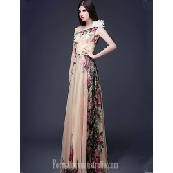 Australia Formal Dress Evening Gowns Print Plus Sizes Dresses Petite A-line Sexy One Shoulder Long Floor-length Chiffon