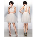 Australia Cocktail Party Dress Ivory A-line High Neck Short Knee-length Lace Tulle Formal Dress Australia