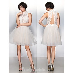 Australia Formal Dresses Cocktail Dress Party Dress Ivory A Line High Neck Short Knee Length Lace Tulle