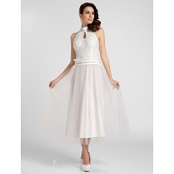 Australia Cocktail Party Dresses Prom Gowns Australia Formal Evening Dress White Plus Sizes Dresses Petite A-line Princess High Neck Halter Tea-length Satin Tulle