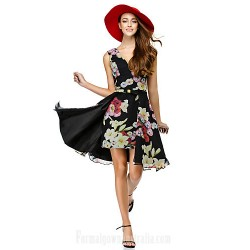 Australia Formal Dresses Cocktail Dress Party Dress Print A Line V Neck Short Knee Length Chiffon