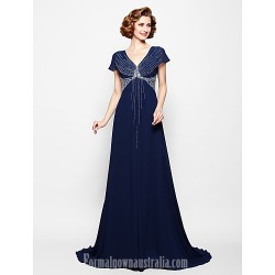 A-line Plus Sizes Dresses Petite Mother of the Bride Dress Dark Navy Court Train Short Sleeve Georgette