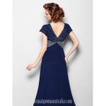 A-line Plus Sizes Dresses Petite Mother of the Bride Dress Dark Navy Court Train Short Sleeve Georgette Formal Dress Australia