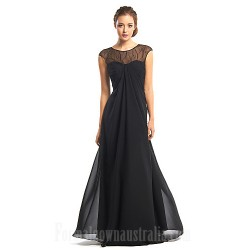 Australia Formal Evening Dress Black A-line Jewel Long Floor-length Chiffon