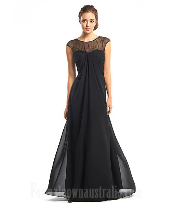 Australia Formal Dress Evening Gowns Black A-line Jewel Long Floor-length Chiffon Formal Dress Australia