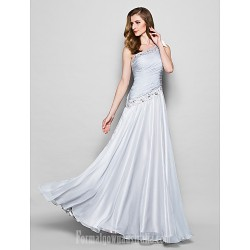 A Line Plus Sizes Dresses Petite Mother Of The Bride Dress Silver Long Floor Length Sleeveless Chiffon