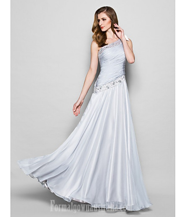 A-line Plus Sizes Dresses Petite Mother of the Bride Dress Silver Long Floor-length Sleeveless Chiffon Formal Dress Australia