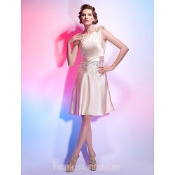 A Line Jewel Neck Short Knee Length Stretch Satin Australia Cocktail Dress