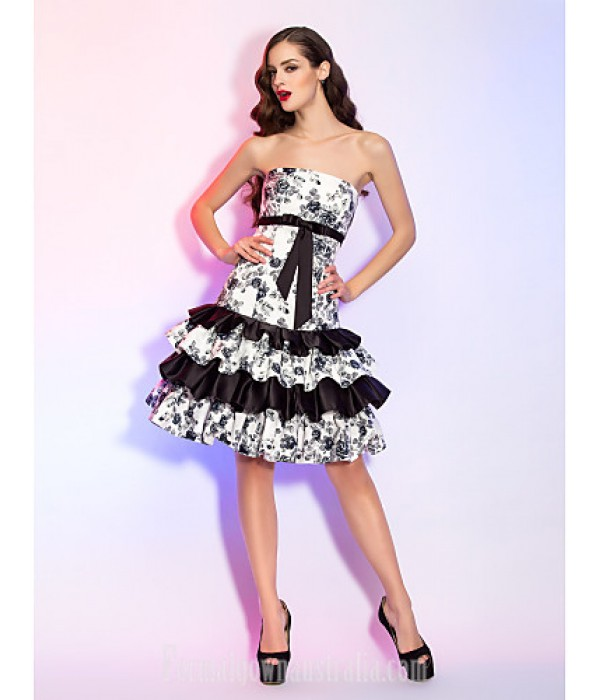 Australia Formal Dresses Cocktail Dress Party Dress Homecoming Holiday Dress Print Plus Sizes Dresses Petite A-line Princess Strapless Short Knee-length Satin Formal Dress Australia