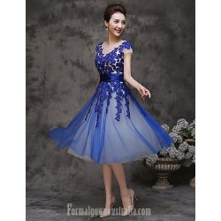 Australia Formal Dresses Cocktail Dress Party Dress-Pool A-line Scoop Tea-length Tulle
