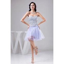 Australia Formal Dresses Cocktail Dress Party Dress Lavender Petite A-line Sweetheart Short Knee-length Tulle Sequined