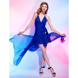 Australia Formal Dresses Cocktail Dress Party Dress Royal Blue Plus Sizes Dresses Petite A-line Princess Halter V-neck Asymmetrical Chiffon Stretch Satin