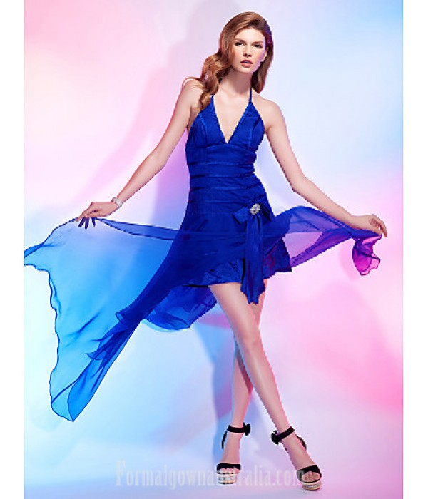 Australia Formal Dresses Cocktail Dress Party Dress Royal Blue Plus Sizes Dresses Petite A-line Princess Halter V-neck Asymmetrical Chiffon Stretch Satin Formal Dress Australia