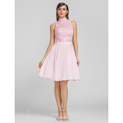Australia Cocktail Party Dresses Prom Gowns  Dress Blushing Pink Plus Sizes Dresses Petite A-line High Neck Short Knee-length Chiffon Lace