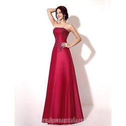 Australia Formal Dress Evening Gowns Burgundy Dark Navy Ruby A-line Strapless Long Floor-length Lace Dress Taffeta