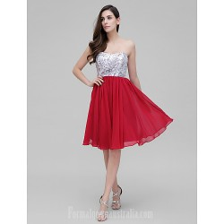 Dress Burgundy Silver A Line Sweetheart Short Knee Length Chiffon Sequined