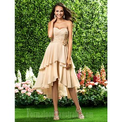 Asymmetrical Short Knee-length Chiffon Bridesmaid Dress Champagne Plus Sizes Dresses Petite A-line Princess Sweetheart Strapless