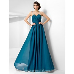 Australia Formal Dress Evening Gowns Military Ball Dress Ink Blue Plus Sizes Dresses Petite A-line Princess Sweetheart Spaghetti Straps Long Floor-length Chiffon