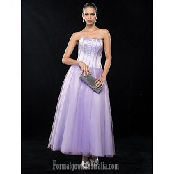 Wedding Party Dresses Australia Formal Dresses Cocktail Dress Party Dress Homecoming Dress Lavender Plus Sizes Dresses Petite A-line Strapless Ankle-length Satin Tulle