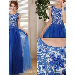 Australia Formal Dress Evening Gowns Royal Blue Plus Sizes Dresses A Line Scoop Long Floor Length Tulle Dress