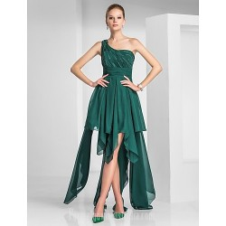 Australia Formal Dresses Cocktail Dress Party Dress Dark Green Plus Sizes Dresses Petite A Line Princess Sexy One Shoulder Asymmetrical Chiffon