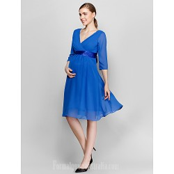 Short Knee-length Chiffon Bridesmaid Dress Royal Blue Plus Sizes Dresses Petite A-line V-neck