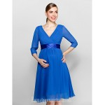 Short Knee-length Chiffon Bridesmaid Dress Royal Blue Plus Sizes Dresses Petite A-line V-neck Formal Dress Australia