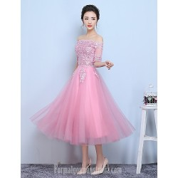 Australia Formal Dress Evening Dress-Candy Pink A-line Bateau Tea-length Tulle