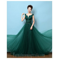 Australia Formal Dress Evening Gowns Dark Green A Line V Neck Court Train Lace Satin