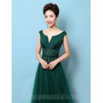 Australia Formal Evening Dress Dark Green A-line V-neck Court Train Lace Satin Formal Dress Australia