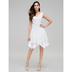 Australia Formal Dresses Cocktail Dress Party Dress Ivory A-line V-neck Asymmetrical Chiffon