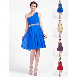 Short Knee Length Chiffon Bridesmaid Dress Royal Blue Ruby Champagne Grape Plus Sizes Dresses Petite A Line Princess Sexy One Shoulder