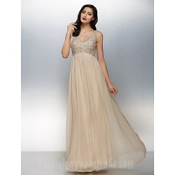 Australia Formal Dress Evening Gowns Champagne Plus Sizes Dresses Petite A-line V-neck Long Floor-length Chiffon