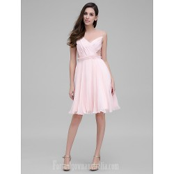 Australia Formal Dresses Cocktail Dress Party Dress Pearl Pink A-line Jewel Short Knee-length Chiffon