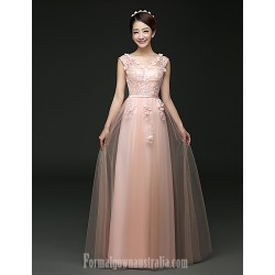 Australia Formal Dress Evening Gowns Blushing Pink Ruby A Line V Neck Long Floor Length Tulle Dress