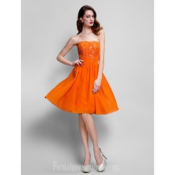 Australia Formal Dresses Cocktail Dress Party Dress Orange Plus Sizes Dresses Petite A Line Strapless Short Knee Length Chiffon