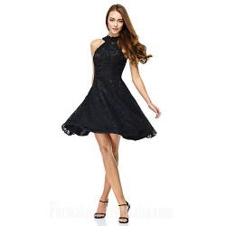 Australia Formal Dresses Cocktail Dress Party Dress Black A-line Jewel Short Knee-length Lace