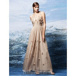 Australia Formal Dress Evening Gowns Champagne Plus Sizes Dresses Petite A-line Jewel Long Floor-length Chiffon