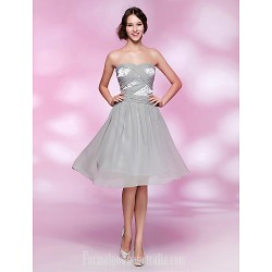 Australia Formal Dresses Cocktail Dress Party Dress Homecoming Dress Silver Plus Sizes Dresses Petite A-line Princess Strapless Sweetheart Short Knee-lengthChiffon Stretch