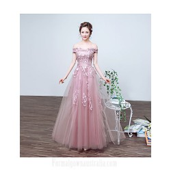 Australia Formal Dress Evening Gowns Pearl Pink A-line Bateau Long Floor-length Lace Dress