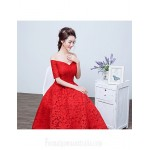 Australia Formal Dress Evening Gowns Ruby A-line Bateau Tea-length Lace Formal Dress Australia