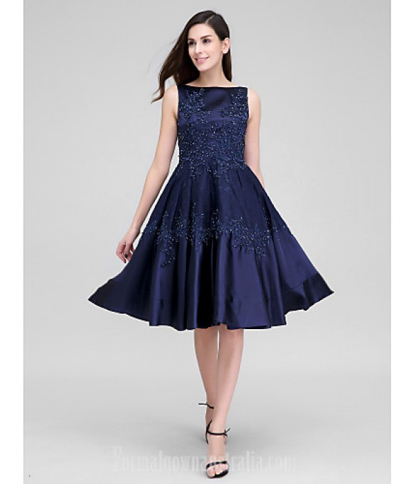 Australia Formal Dresses Cocktail Dress Party Dress Dark Navy A-line Bateau Short Knee-length Lace Stretch Satin Formal Dress Australia