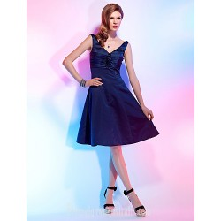 A Line V Neck Short Knee Length Satin Australia Cocktail Dress