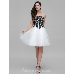 Australia Formal Dresses Cocktail Dress Party Dress White A Line Strapless Short Knee Length Tulle
