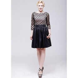 Australia Formal Dresses Cocktail Dress Party Dress Black A-line Scoop Short Knee-length Taffeta Tulle