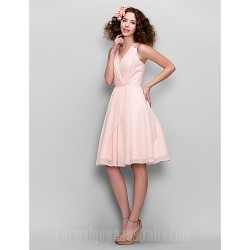 Short Knee Length Chiffon Bridesmaid Dress Blushing Pink A Line V Neck
