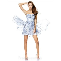 Australia Formal Dresses Cocktail Dress Party Dress Print A Line Strapless Short Knee Length Chiffon